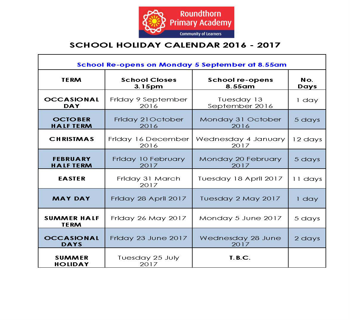 Roundthorn Holiday Calendar 2016-2017 revised.
